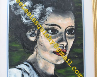Bride of frankenstein-print of painting & framed