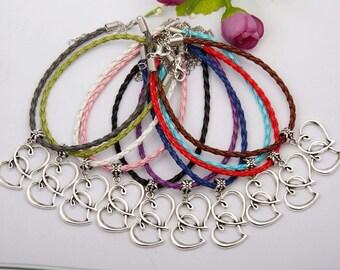 Double Heart Charm Bracelet