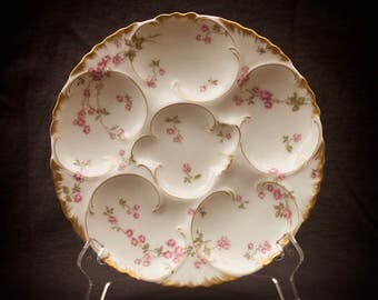 Haviland Limoges Oyster Plate Pink Flowers