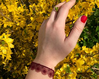 Bordeaux lace, Womens bracelet, handmade.