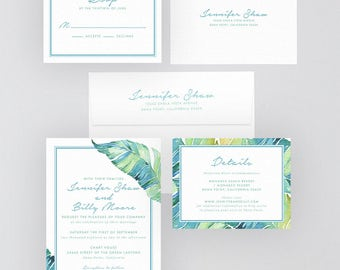 Digital OR Printed Wedding Invitation Suite // The ISLE of PALM Collection // Script, Tropical, Garden, Beach