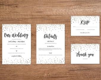 Silver Confetti Printable Wedding Invitation Set