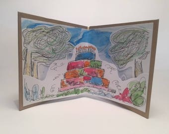 Handmade Birthday Card Watercolour illustrations 10.5x12cm