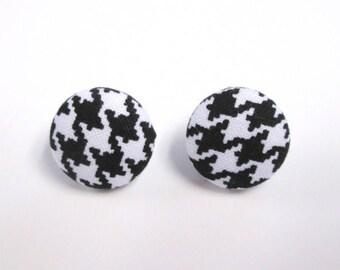 Houndstooth button earrings post earrings nickel free earrings fabric covered earrings