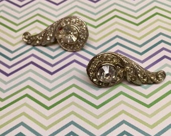 1920's Inspired Classy Vintage Diamond Clip-On Earrings