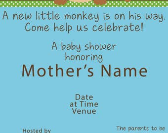 Monkey theme Baby Shower invitations