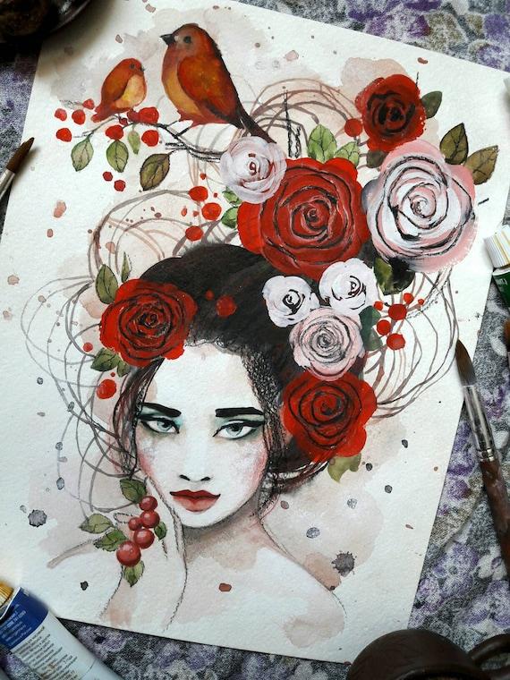 Floral girl ORIGINAL painting by Tatiana Boiko watercolor art, wall hanging, wall decor, wall art, roses, flowers girl painting, Russian art