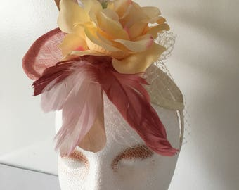 Ivory|Mauve Fascinator Hat, Derby Fascinator Womens Tea Party Hat, Wedding Hat