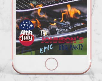 July 4th BBQ Geofilter, July 4th Snapchat Geofilter, July Fourth Geofilter, Fourth of July Geofilter, BBQ Geofilter, Barbecue Geofilter, BBQ