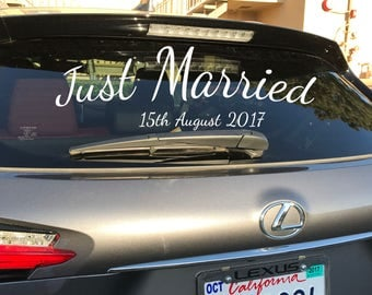 Wedding Car Decal Etsy - Car window decals custom made