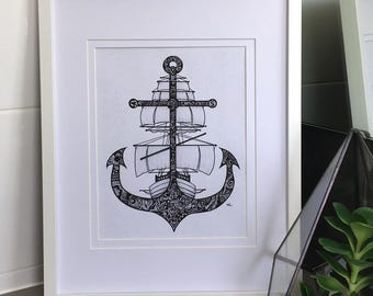Ship and Anchor Print, Nautical Print, Wall Art, Wall Decor, A4 Print
