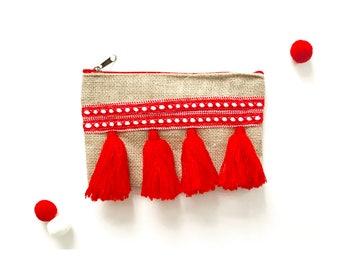 Red Tassel pom pom clutch bag, toiletry bag, moroccan, pouch, makeup bag