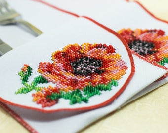 Bead-embroidered cutlery wraps envelopes wallets poppy flower poppies hand embroidery table decoration