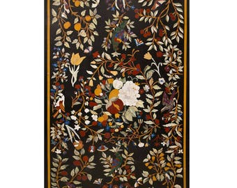 Beautiful Pietra Dura Marble Inlay Table Top Natural Semi Precious Gemstone Inlay Art Work Exclusive Artifact