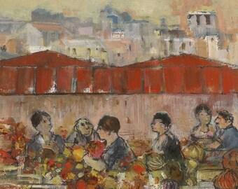 Original painting, market of Aligre in Paris, characters, outdoor.