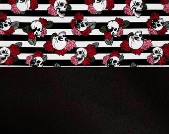Stripes, skulls, pink and red roses, black back, baby blanket, roses baby blanket, skulls and roses baby blanket, striped baby blanket
