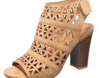 Lattice high heel sandal