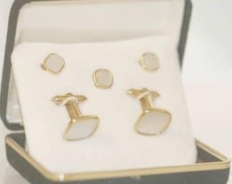 Art Deco White Mother of Pearl Gold Tuxedo Cufflinks and Studs, Wedding Cufflinks, Vintage Groom Gift, Men's Wedding Tuxedo Cufflinks