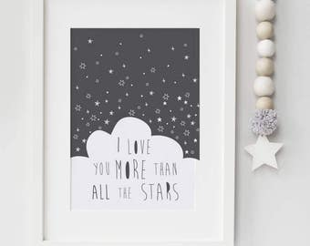 Nursery or Children's print - I love you more than all the stars