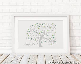"wedding fingerprint tree guestbook wedding confirmation ""Tree"" 30x40cm"