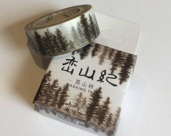 Monochrome Chinese Painted Trees Washi
