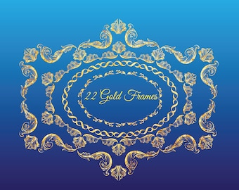 Gold frames labels glitter 22 PNGs wedding invitations party transparent background swirls flourishes