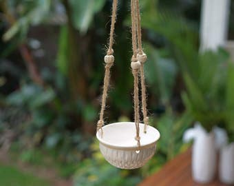 Drippity Drip Hanging Planter - Macrame - Handmade beads - Pottery - Hand Carved Pottery - Herb Pot