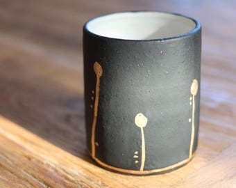 Midnight Bloom Tumblers - Black and Gold - Wheel Thrown Stoneware