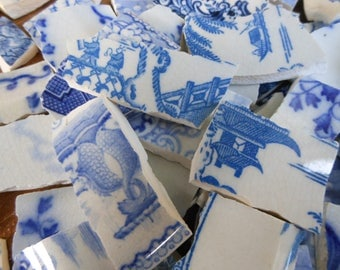 100+ Blue and White hand cut mosaic or jewellery tiles.