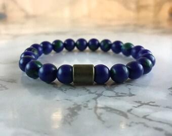 Lapis Lazuli with Malachite Bead Bracelet, Gemstone Jewellery, Stretch Bracelet