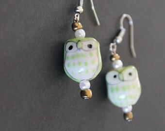 Kiwi green owl earrings
