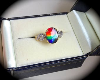 Large 10mm x 8mm Ammolite Ring 9ct Yellow Gold - 'Certified' - Exquisite Colours!