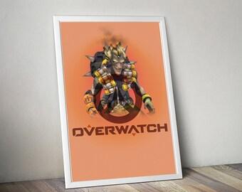 Overwatch JUNKRAT Poster, Game Poster, Flat Print Design, Digital Printable Poster, Blizzard wall art, Instant Download, game art