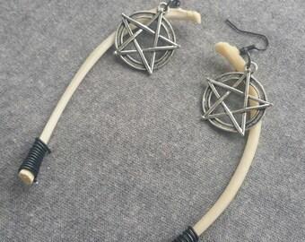 Large Animal Rib Bone Pentagram Earrings
