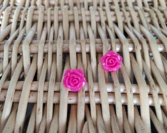 Deep Pink Roses Handmade Earrings