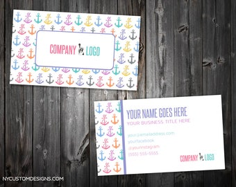 Anchors Design | Double Sided Business Card | Standard Size 3.5 x 2 | Personalized