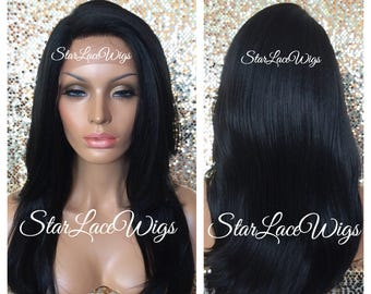 Long Straight Black Lace Front Wig - Human Hair Blend - Layers - Swiss Lace - Heat Resistant Safe