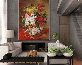 """Flower Wall Art Flower Painting Classical Flower Floral  36x48""""/90x120cm Large Painting"""