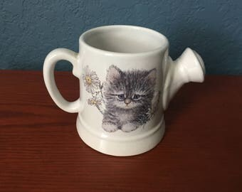 Cute Kitten with Daisies Watering Can Planter