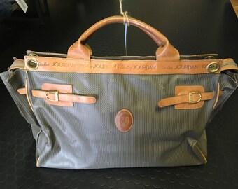 vintage brown and tan overnight bag
