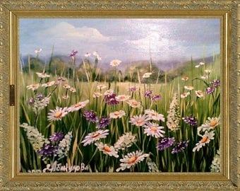 Oil painting flowers gift картина маслом цветы ромашки
