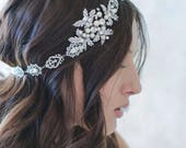 Bridal Tiara Rhinestone Topaz Ribbon Wedding Prom Headpiece Headband Silver Crystal Bride