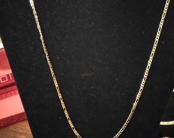 New 14k yellow gold plated necklaces Figaro link style