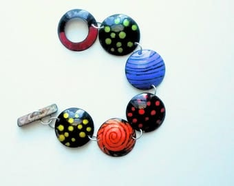 Bold Bright Colorful Spring Summer Bracelet with Copper Enameled Circle Panels for Her Jewelry