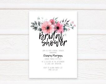 Floral Bridal Shower Invitation, Printable Bridal Shower Invitation, Bridal Shower Invites, Kitchen Tea