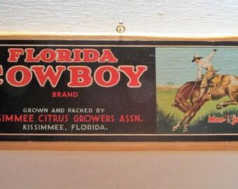Florida Cowboy Brand Fruit crate Label