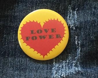 Love Power Button, Red Heart, 2.25 pinback