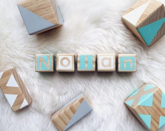Personalised Wooden Blocks - Green, Grey and White