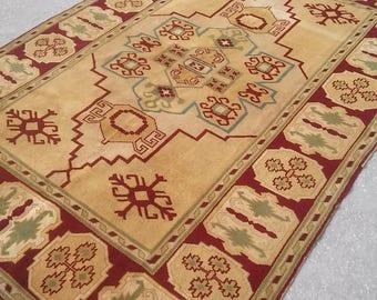 "Oushak Rug,Vintage Turkish Rug,5'10×8'5""ft, Home living, Boho rug, Area rug, Pastel Colors,Mustard Yellow Floor,Fashion Rug,Turkish carpet,"