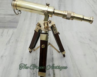 Brass Telescope With Tripod Stand Maritime Collectible